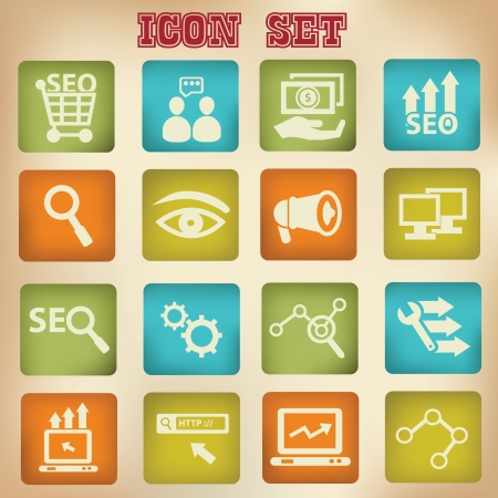 html: SEO concept,Search engine icon set vintage style,vector