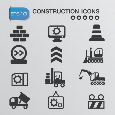 glue: Baumaschinen-Icons, Vektor Illustration