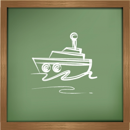 Boat drawing sign on blackground,vector Stock Vector - 19725307