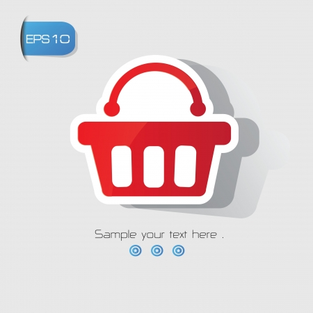 e store: Shopping basket sign,vector
