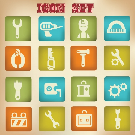 Constructor icons,building icons,vintage style,vector Stock Vector - 19725242