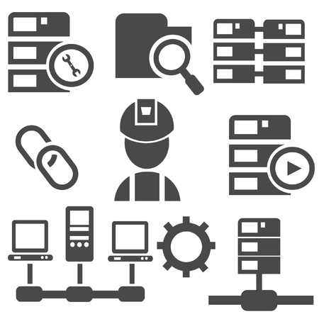 Computer system icon set,vector Stock Vector - 19725028
