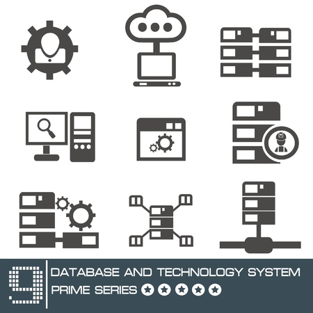 Computer system icon set,vector  Vector