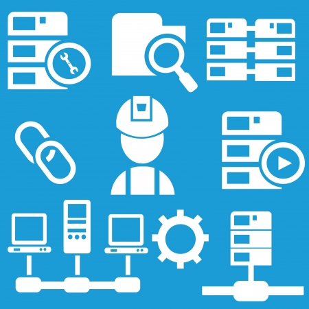Computer system icon set,vector Stock Vector - 19725040