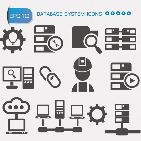 protected database: Computer system icon set,vector  Illustration
