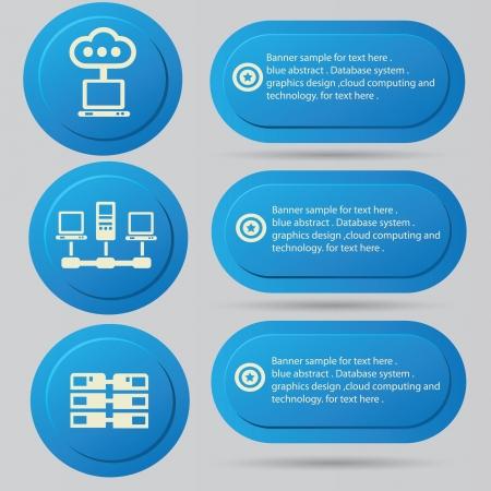 db: Computer server system icon set,vector  Illustration