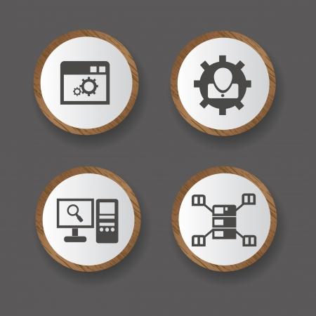 Server computer sign set,vector