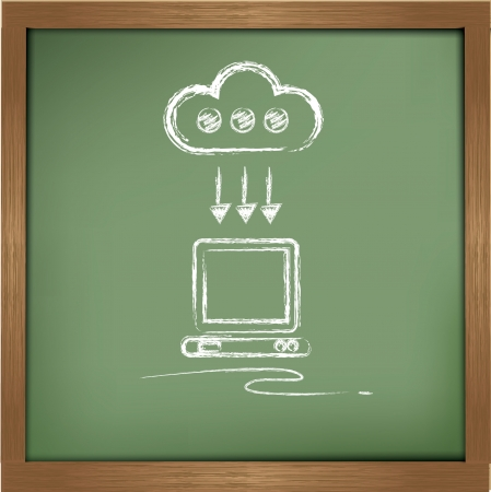 Cloud cdomputing drawing on blackboard background,vector Vector