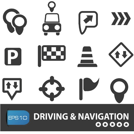 Driving and road sign, vector illustration Stock Vector - 19725100