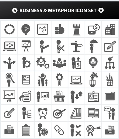 construction management: Affari e metafora, risorse umane, gestione di impresa icona set, vettore