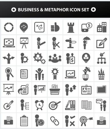 metafoor: Zakelijke en Metafoor, human resource management voor een stevige icon set, vector