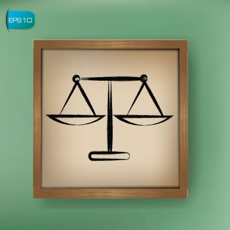 acquit: Scale of just sign drawing on blackboard background,vector