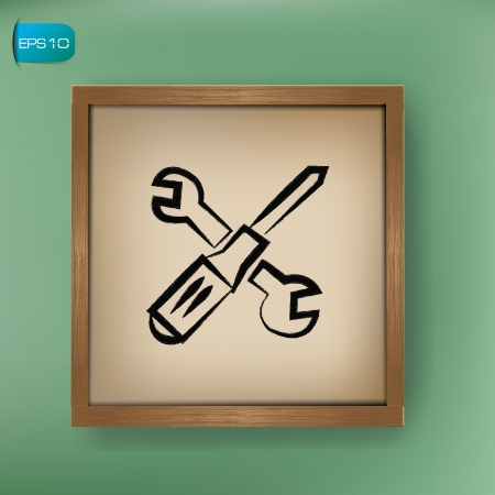 rework: Repair sign drawing on blackboard background,vector