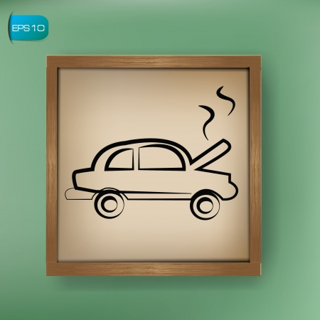 overhaul: Car repair sign drawing on blackboard background,vector  Illustration