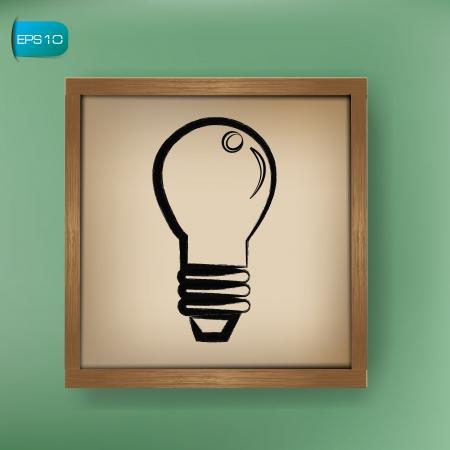 fingertip: Lightbulb drawing on blackboard background,vector