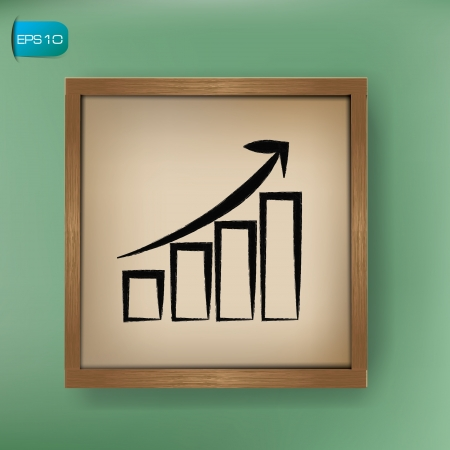 Graph up sign drawing on blackboard background,vector  Vector