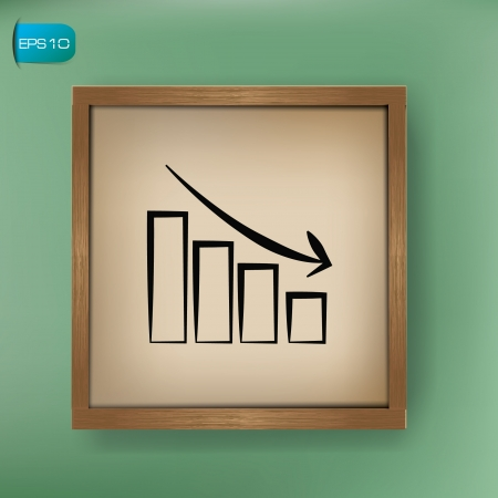 Graph down drawing sign on blackboard background,vector Stock Vector - 19656943