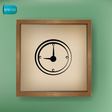 Clock drawing sign on blackboard background,vector  Vector