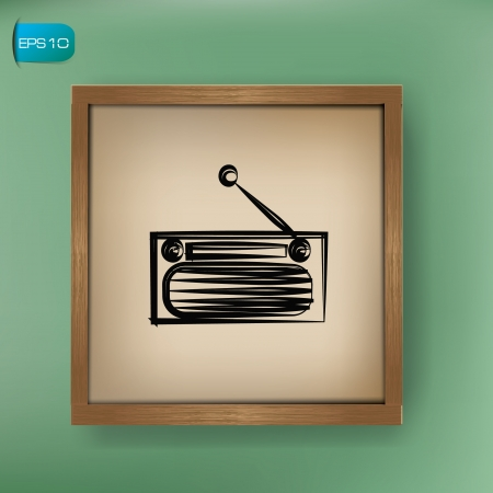 Radio drawing on blackboard background,vector  Vector