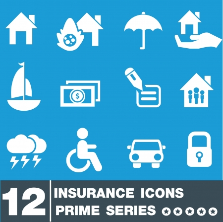 Insurance icon set,vector Stock Vector - 19656510