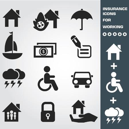 icone immobilier: Assurance ic�ne ensemble, illustration