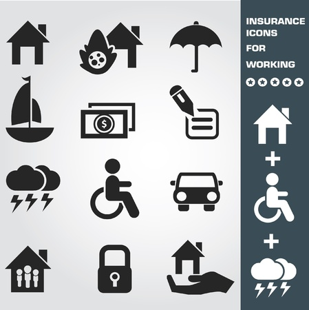damaged houses: Insurance icon set,vector
