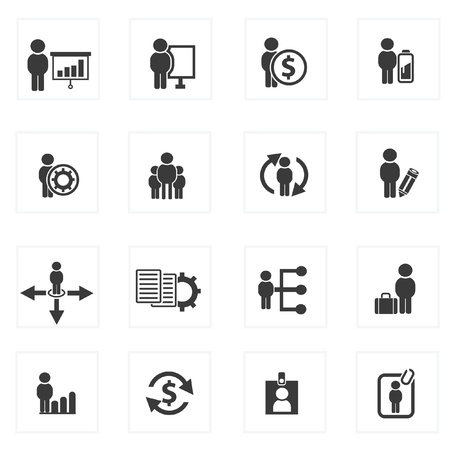 security search: Business human resource,icon set,Vector