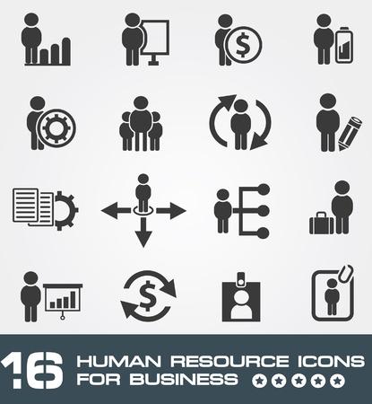 gestion empresarial: Recursos humanos negocios, conjunto de iconos, Vector
