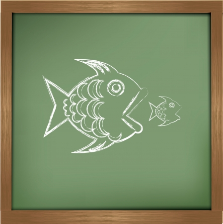 over sized: big fish eats small one on blackboard background,vector