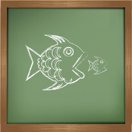 big fish eats small one on blackboard background,vector Stock Vector - 19656959