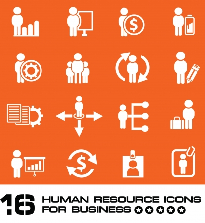 Business human resource,icon set on orange background,Vector  Vector