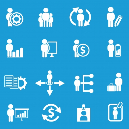 Business human resource,icon set on blue background,Vector  Vector