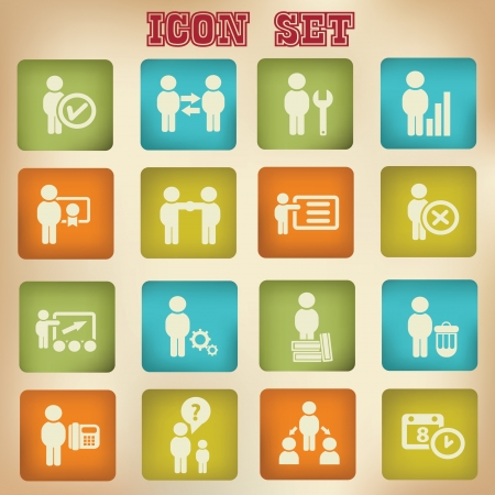 Business and human management icons,vintage style,vector  Vector