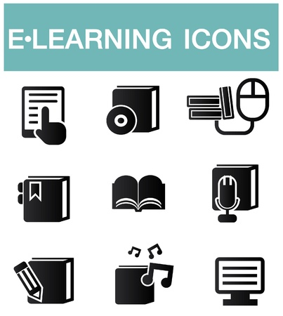 home schooling: e-learning icons,vector