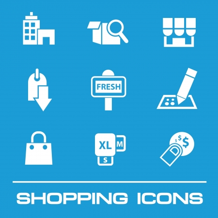 Shopping icon set on blue background,vector  Vector