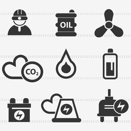 Industry,energy,power icon set,vector  Vector
