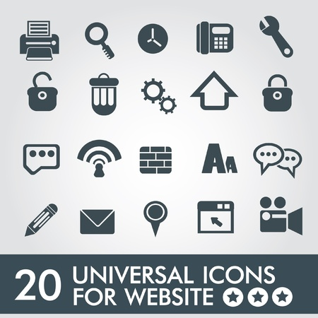 20 Universal icon set for website,vector Stock Vector - 19656500