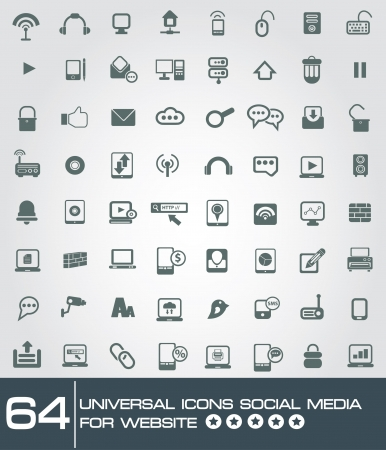 64 universal icon set social media and technology for web,vector