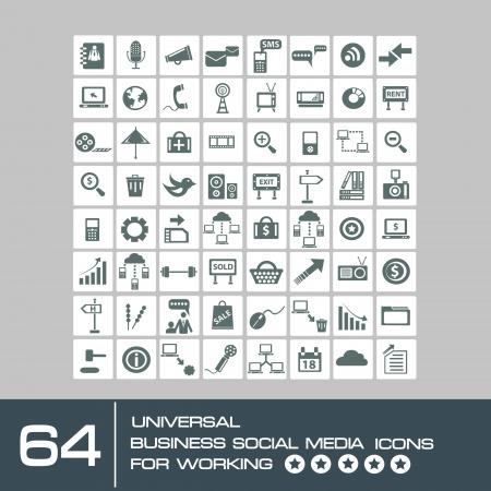 simplus: Los medios sociales y el conjunto icono de equipo, vector