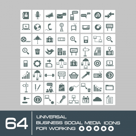 business news: Social media and computer icon set,vector