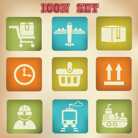Shopping and logistic ,vintage icons Vector