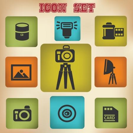 neutral density filter: Camera icon set,vintage style