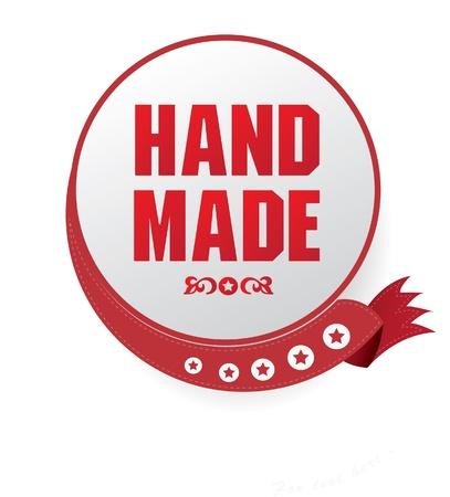 hand made: Hecho a mano signo Vectores