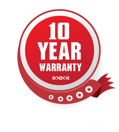 10 year warranty sign Vector