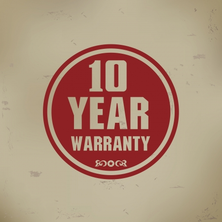 10 year warranty sign on old background Stock Vector - 19771246