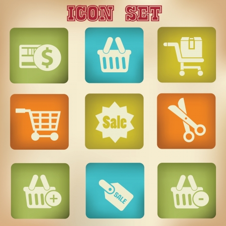 bank cart: Shopping vintage icons Illustration