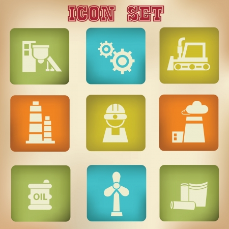 Industry vintage icons Stock Vector - 19771218