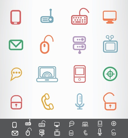 Computer and hardware icons Stock Vector - 19770851