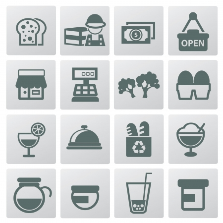 Supermarket and food ions Vector