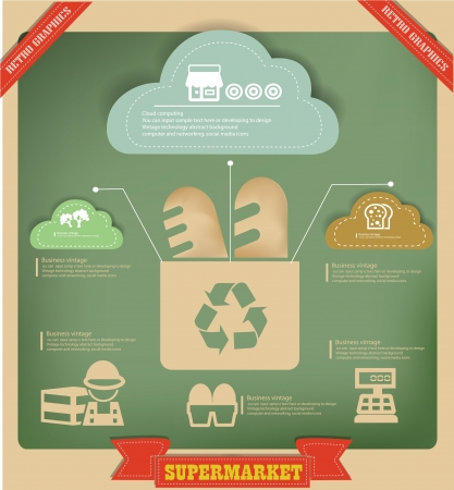 consumerism: Food and recycle graphics design on vintage background Illustration